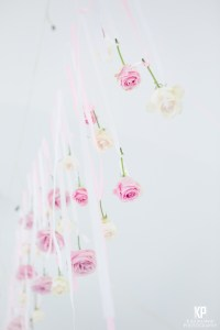 Hanging roses from the ceiling of the reception room