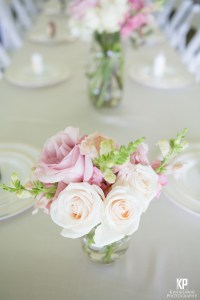 Beautiful rose centerpieces for the reception tables