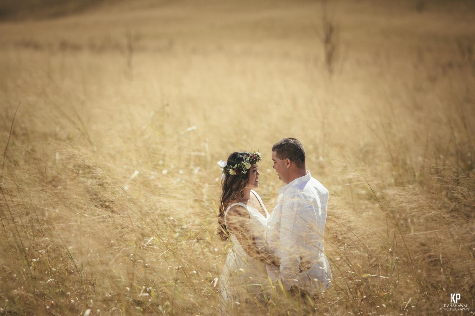 Kauai wedding photographer Kahahawai Photography shooting engagement portraits on the slopes of Waimea Canyon