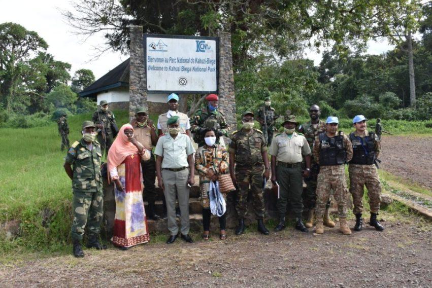Photo souvenir de la rencontre du 15 mai 2020 entre les responsables de l'ICCN, des FARDC et les membres de la MONUSCO