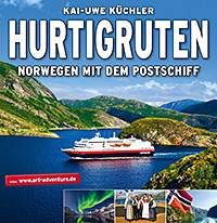 Plakat Hurtigruten. Norwegen mit dem Postschiff