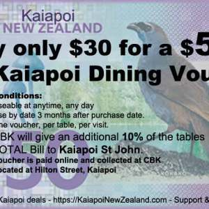 $30 for a $50 CBK Dining Voucher