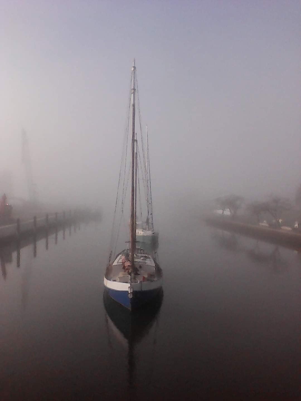 Kaiapoi - fog on the river - Lawz Mitchell