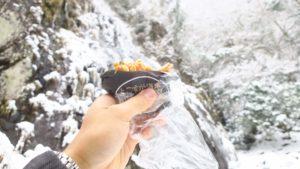 兵庫の氷瀑、偏妙の滝での滝飯