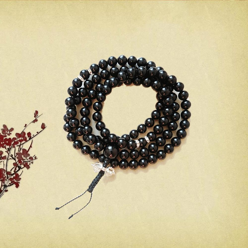 Четки из черного агата ( диаметр 1 см)  с ваджром и выделенной 21 бусиной