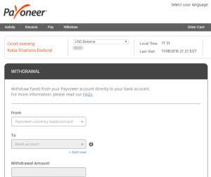 Payoneer Withdraw to Bank Account