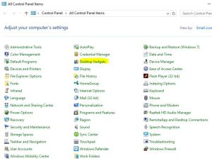 Desktop Gadgets Cpanel