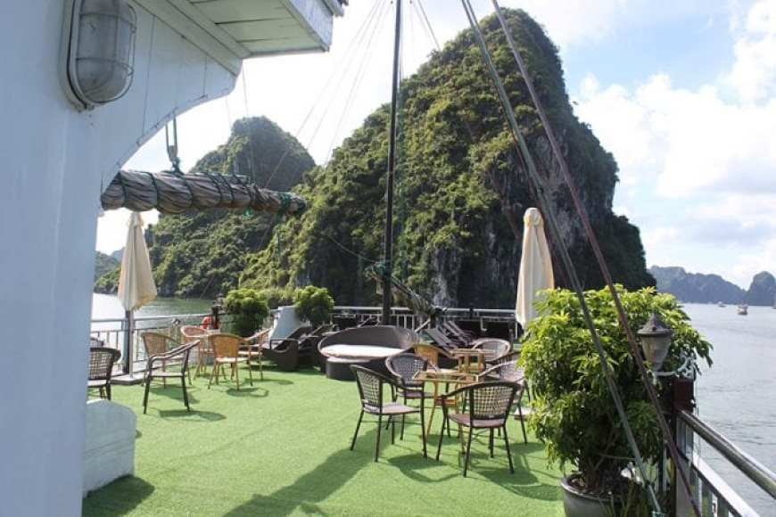 Flamingo Cruise Review- Halong Bay Cruise 2 days 1 night Deck