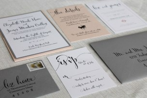 Blush and Gray Wedding Invitation Suite