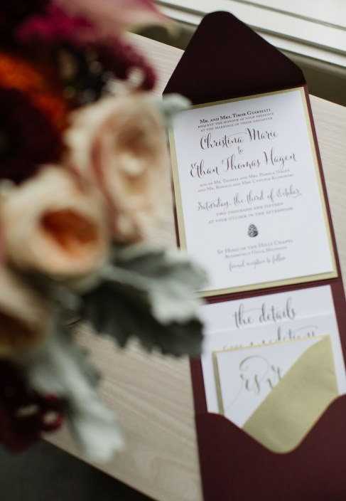 Merlot and Gold Wedding Invitation Suite