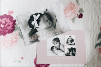 Floral Baby Girl Birth Announcement