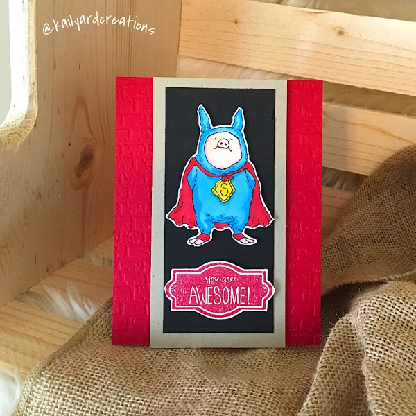 Super Piggy Greeting Card by Kailyard Creations