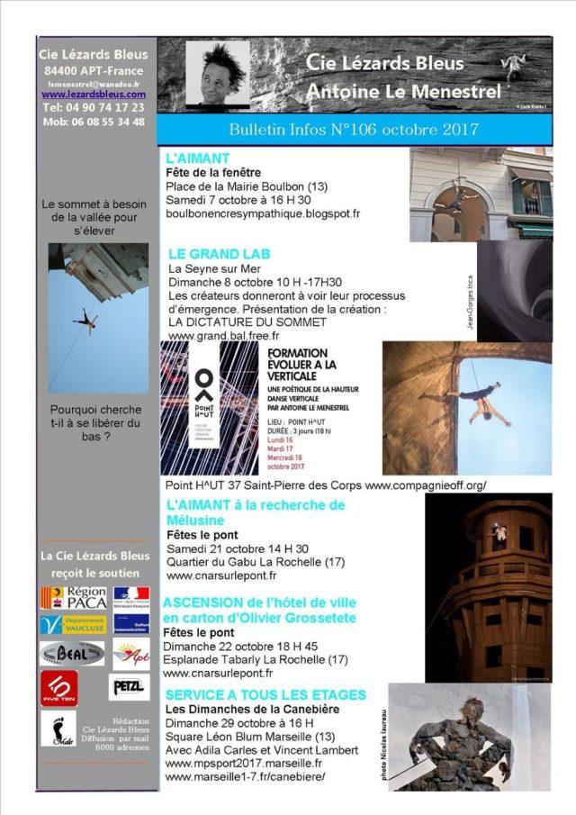 Programme Lézards Bleus Octobre 2017