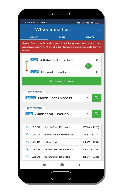 where is my train application top features in Hindi