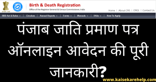 Punjab Cast Certificate Online Form 2020 In Hindi