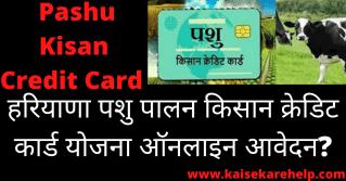 Haryana Pashu Kisan Credit Card Yojana 2020 In Hindi