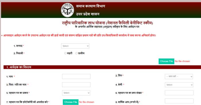 How to apply for rashtriya parivarik labh yojana