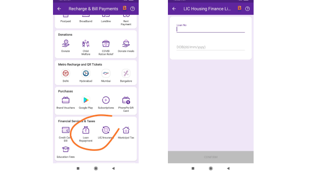 how to complete LIC premium payment using phonepe