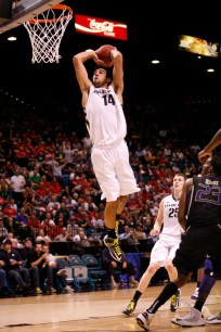 Arsalan Kazemi of Oregon goes up for a dunk during a Pac-12 Tournament game at the MGM Grand Garden Arena in Las Vegas on Thursday, March 14, 2013. (Kai Casey/CU Independent)