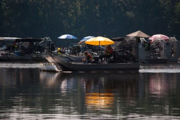 An Airboat cleans cleans up oil in Morrow Lake in Kalamazoo a year after the initial spill.
