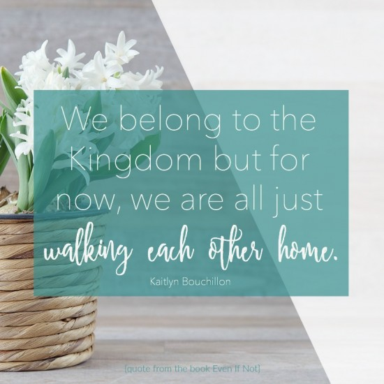 We belong to the Kingdom but for now, we are all just walking each other home. #EvenIfNotBook