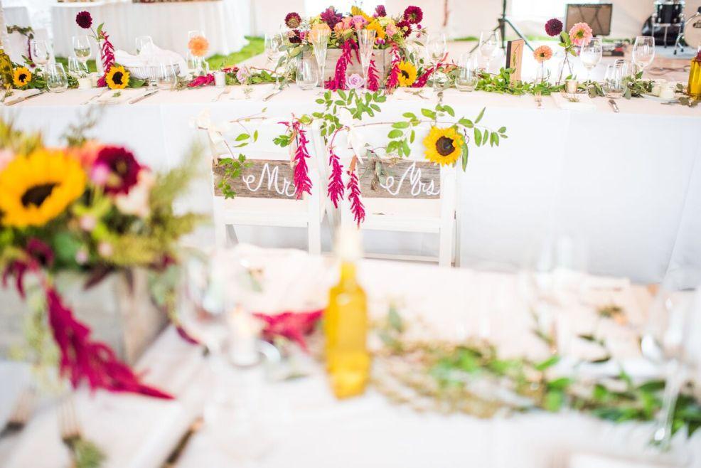 Intimate Jedidiah Hawkins Inn Wedding Kaitlyn Ferris New York Fall Reception Sunflower Centerpieces
