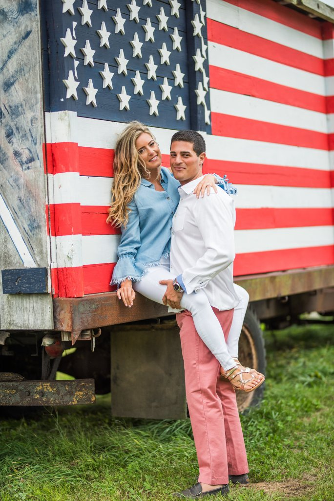 American flag truck romantic engagement