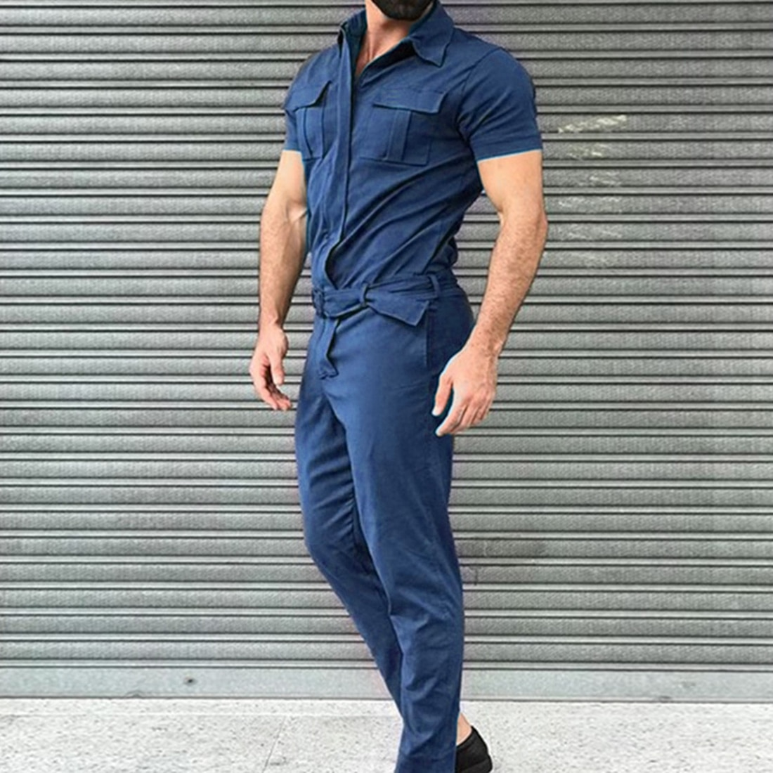 Mens Overalls Streetwear Lapel Short Sleeve Rompers Cargo Pants