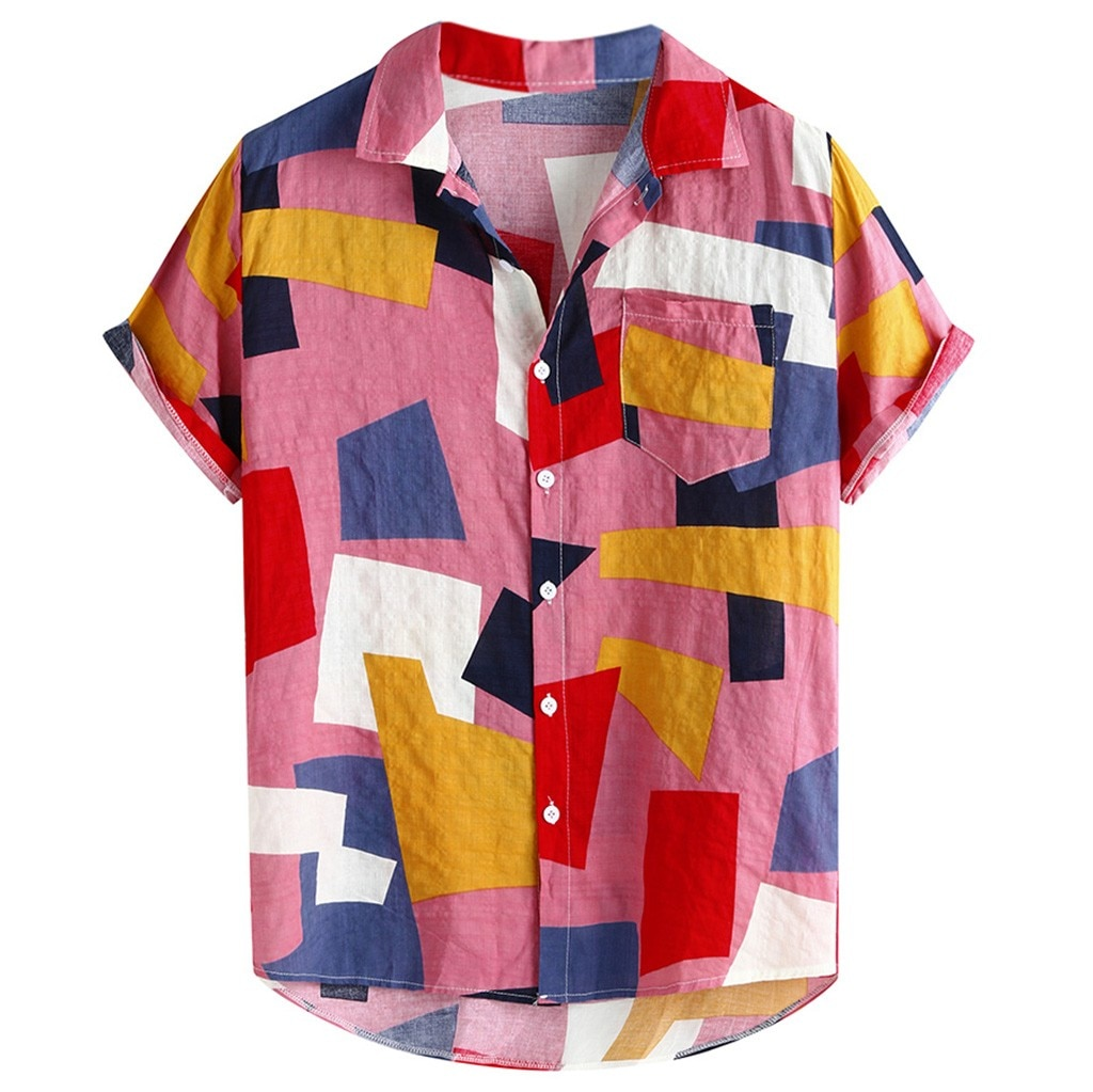 Hawaiian Fashion Plaid Printed Short Sleeve Buttons Casual Tops