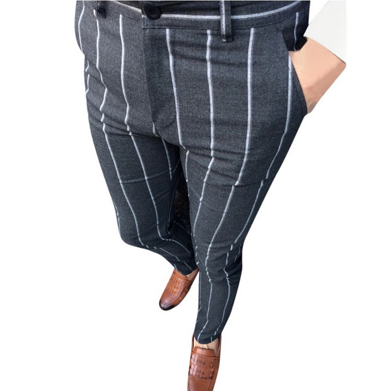 Plaid Design Fashion Grey With Stripe Casual Pants