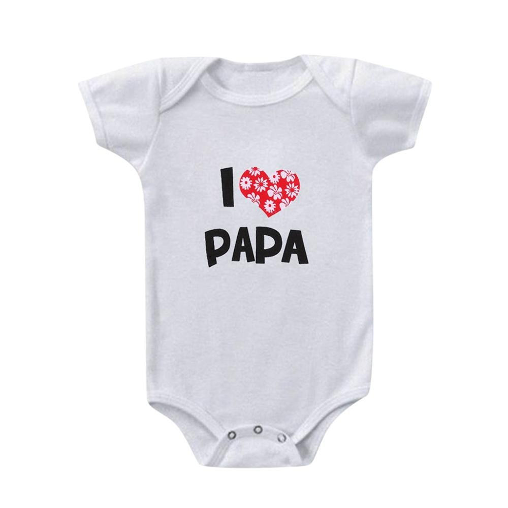 I Love Papa Bodysuit Valentine's Cotton Clothing