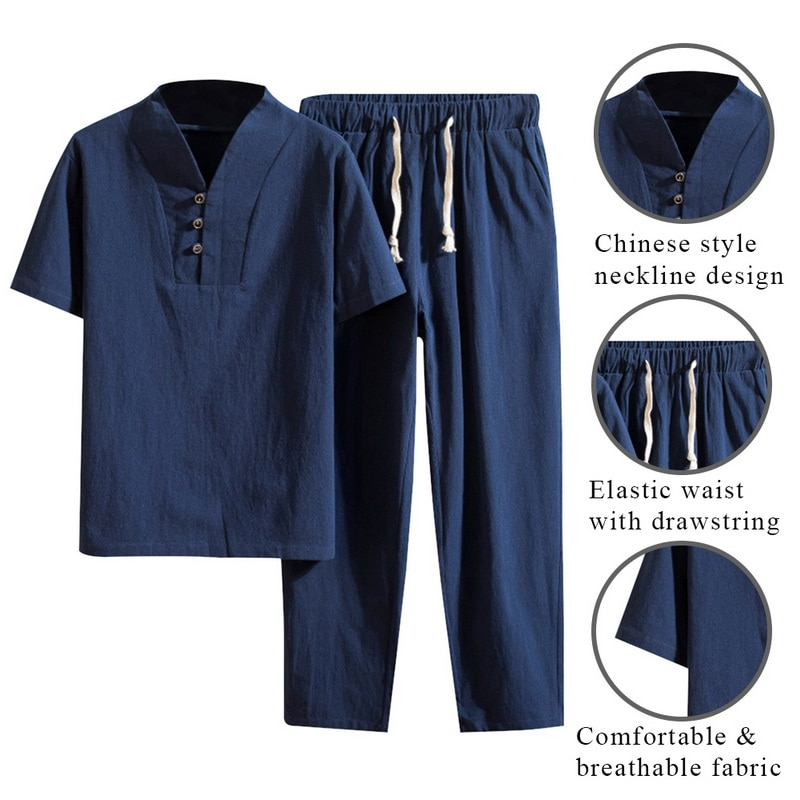 Mens Summer Chinese Style Cotton Linen Solid Color Casual Set