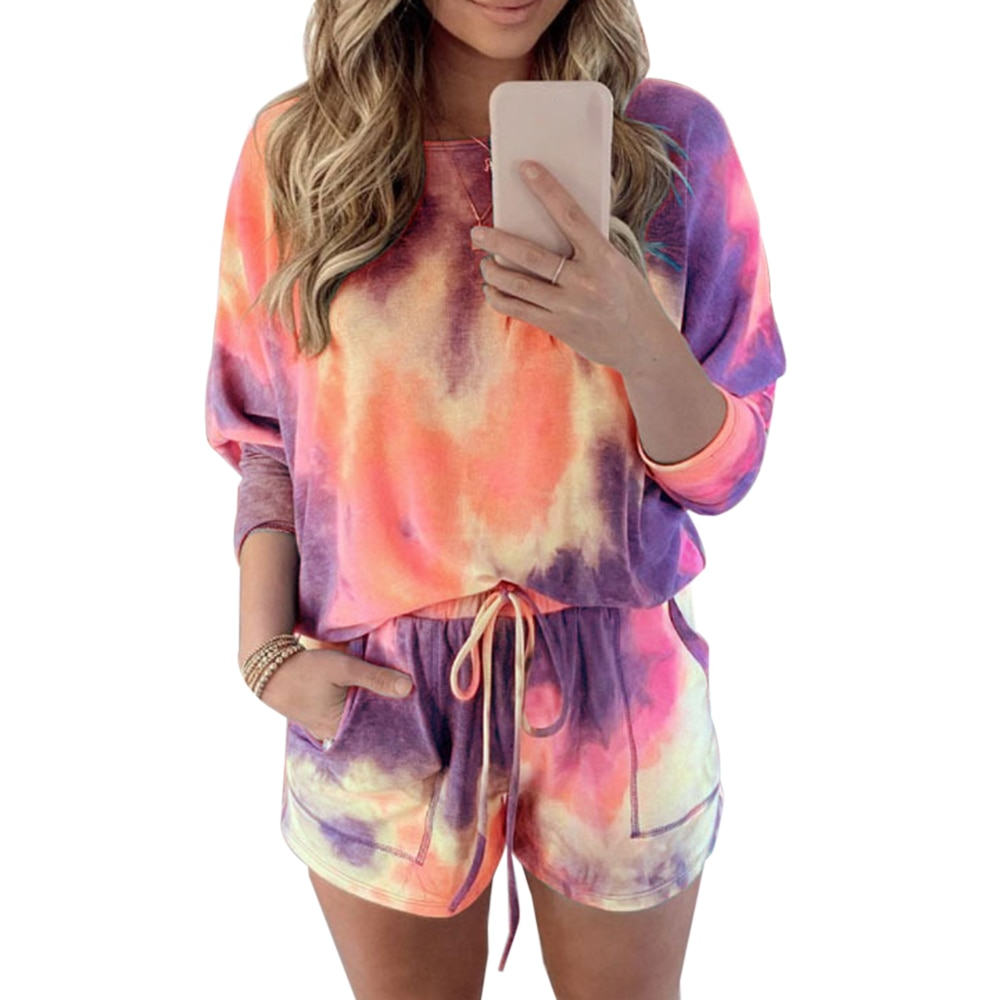 Long Sleeve Blouses Shorts Ladies Outfit Fashion Casual Female Clothes Set