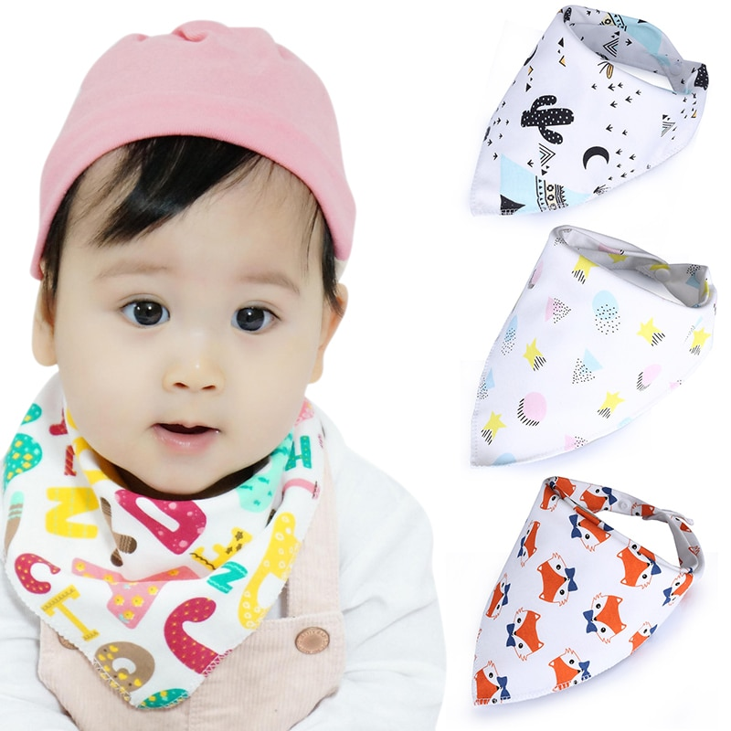 Cotton Soft Convenient Baby Saliva Bibs Triangular Towel