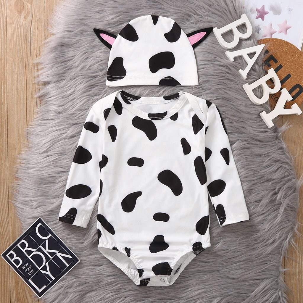 Blotch Print Romper Cartoon Ear Hats Outfits Black and white spots Romper
