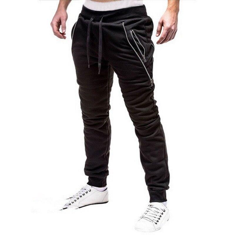 Slacks Casual Elastic Joggings Sport Solid Baggy Pockets Trousers