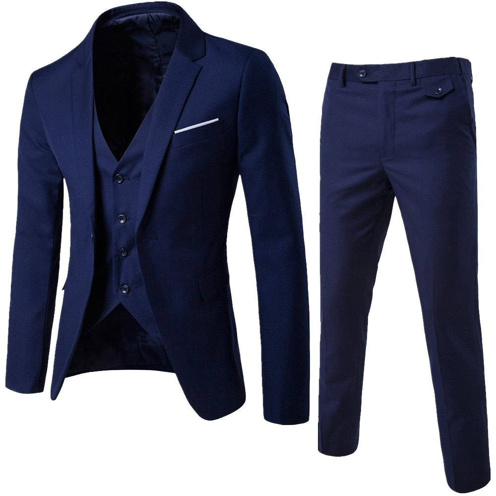 Men's 3 Pieces Black Elegant Suits With Pants