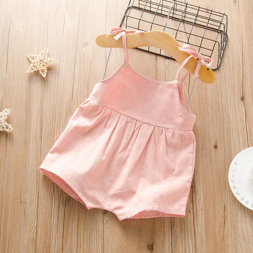 Infant Baby Girls Solid Suspenders Romper Jumpsuits