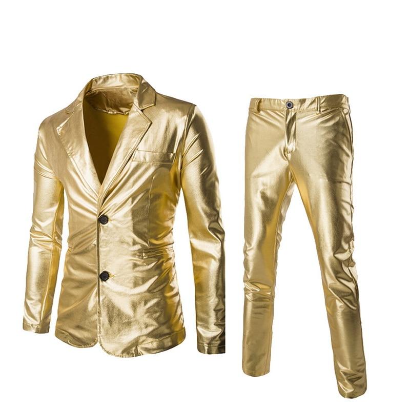 Coated Gold Suit Set 2 pcs Jackets + Pants Men Blazers Sets