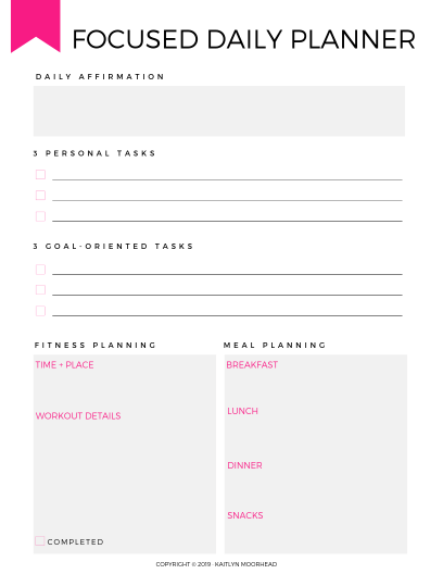 FOCUSED DAILY PLANNER PRINTABLE