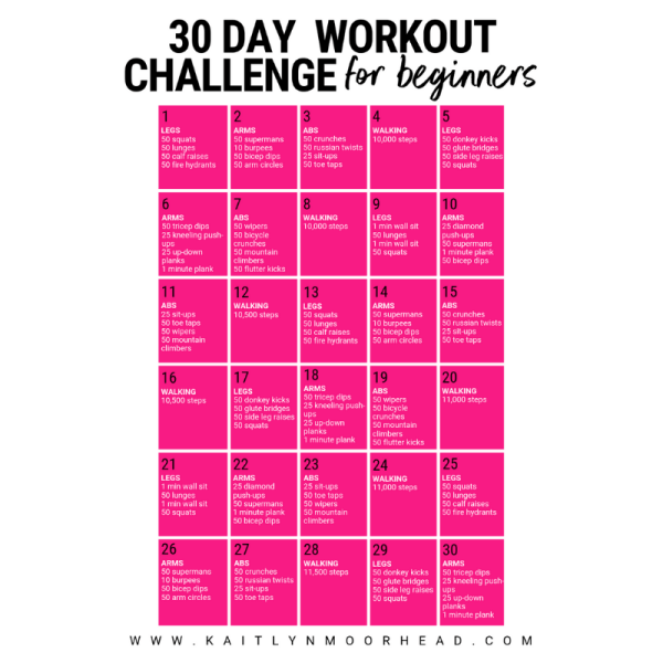 30 DAY WORKOUT CHALLENGE FOR BEGINNERS