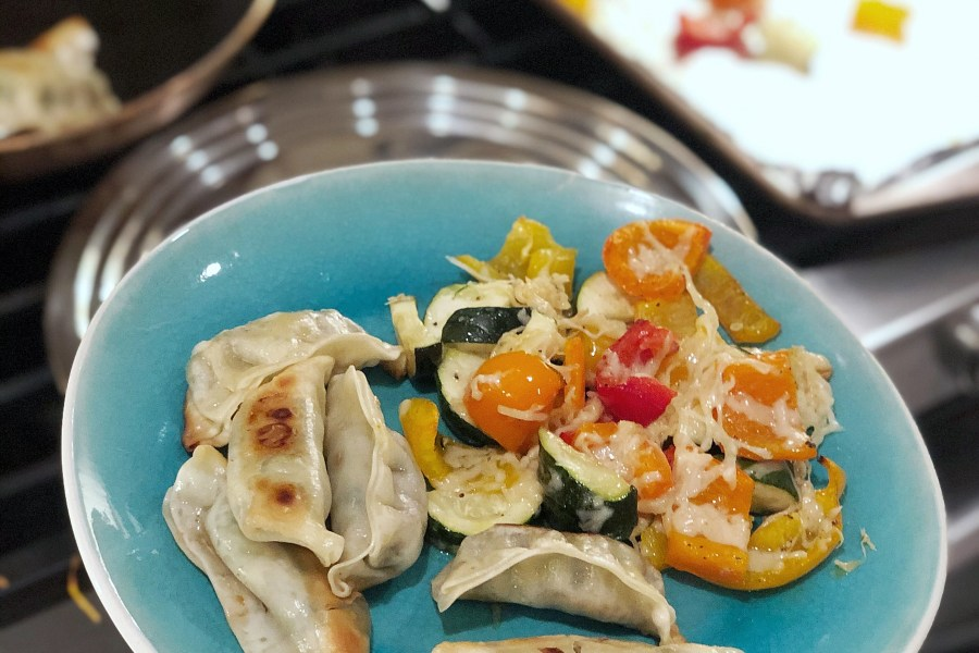 vegetable-pot-stickers-and-cheesy-vegetables