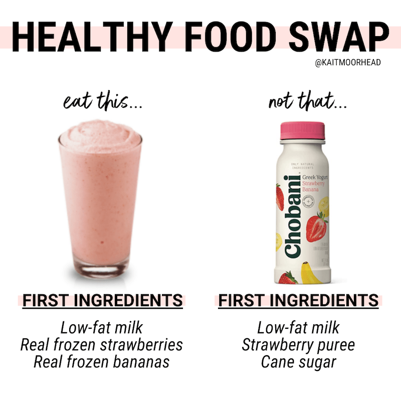 5 FOODS TO STOP BUYING + WHAT TO BUY INSTEAD EAT THIS NOT THAT FOOD SWAPPING HEALTHY EATING _ KAITLYN MOORHEAD