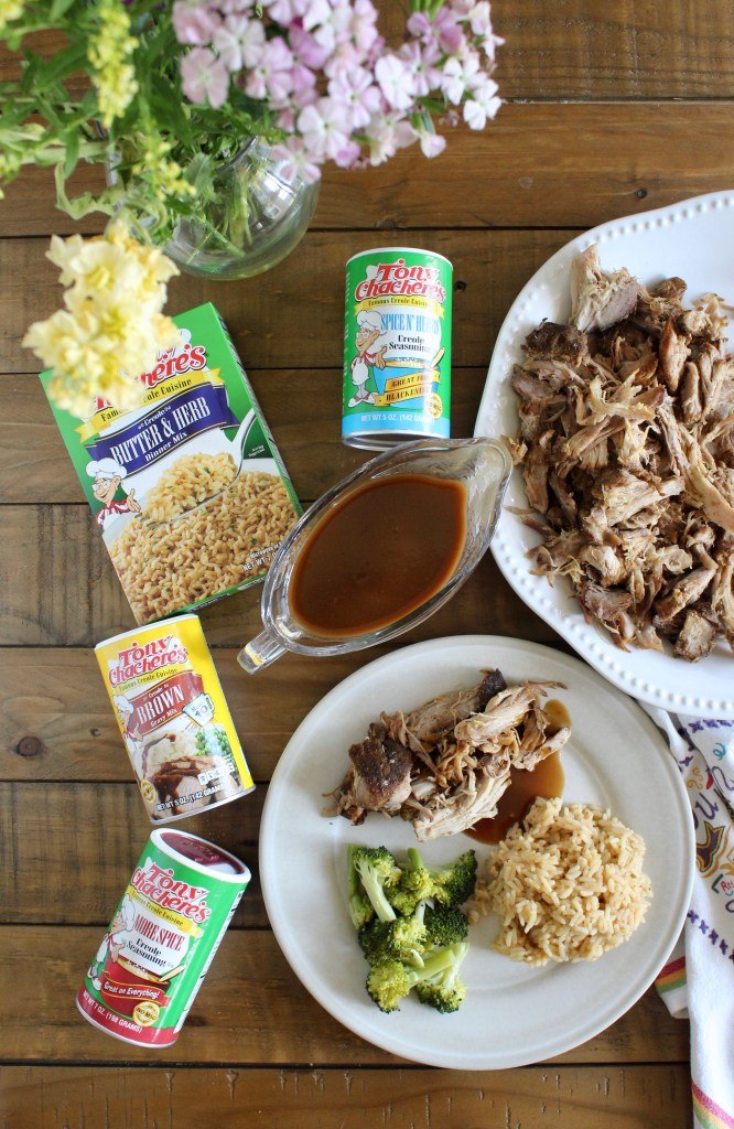 Tony Chachere's products next to slow cooker pork roast