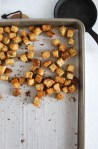 croutons on a baking sheet.