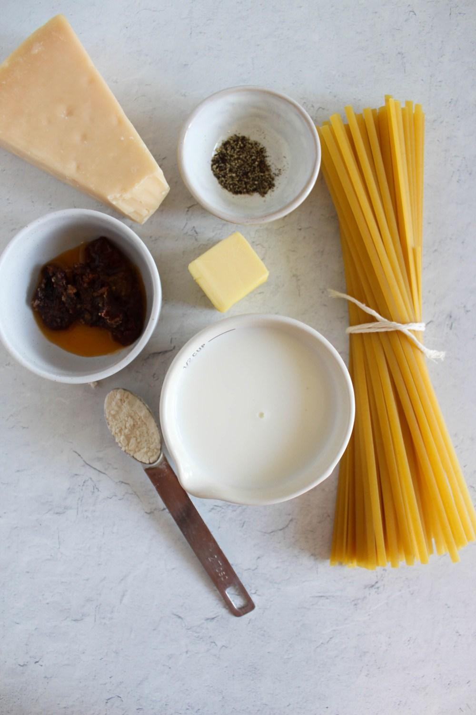 overhead view of cajun chicken pasta ingredients
