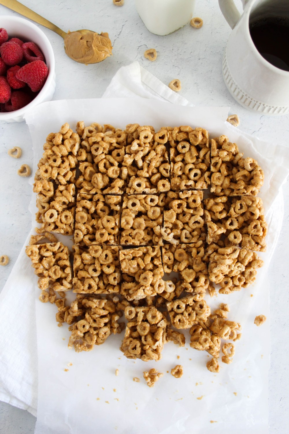 overhead view of cheerio peanut butter bars