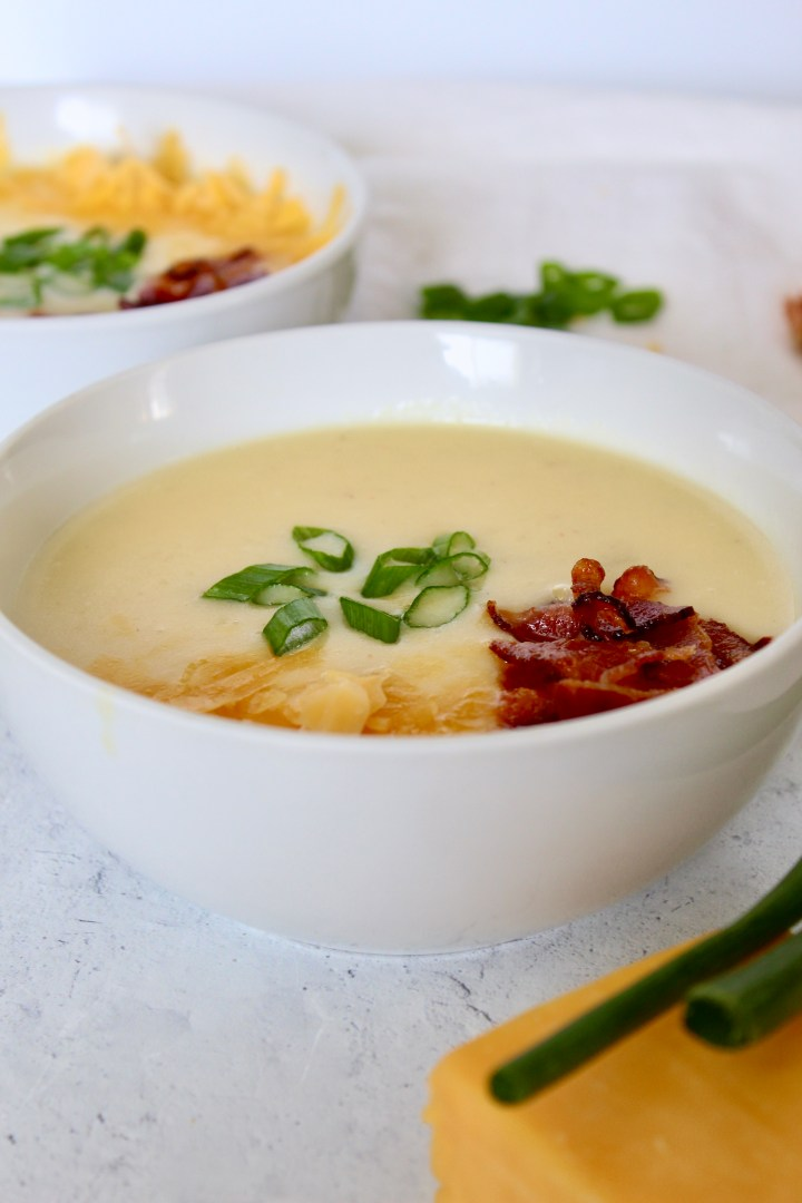 small image - baked potato soup in bowls
