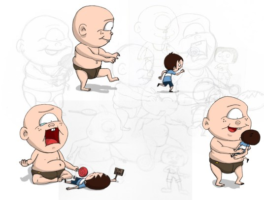 Cyclops baby interaction with Boy (Character Design)