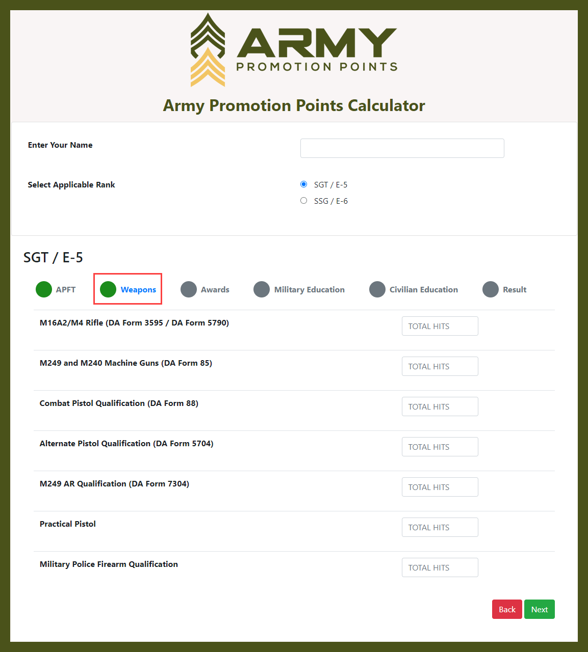 Army Promotion Points Calculator